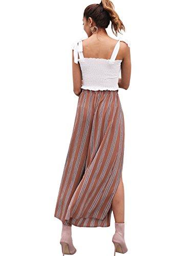 Simplee Women's Elegant Striped Split High Waisted Belted Flowy Wide Leg Pants, Rust Red Stripe, 4/6, Small