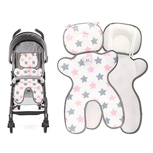HALOVIE Sitzauflagen für Kinderwagen Sommer Kinderwagensitzkissen 3D Mesh Atmungsaktive Sommer Sitzeinlage Universal Sitzauflage für Kinderwagen, Buggy, Kindersitz und Babyschale Kühl Bequem Pink