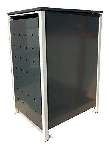 BBT@ | Hochwertige Mülltonnenbox für 3 Tonnen je 240 Liter mit Klappdeckel in Grau / Aus stabilem pulver-beschichtetem Metall / Stanzung 1 / In verschiedenen Farben sowie mit unterschiedlichen Blech-Stanzungen erhältlich / Mülltonnenverkleidung Müllboxen Müllcontainer - 4