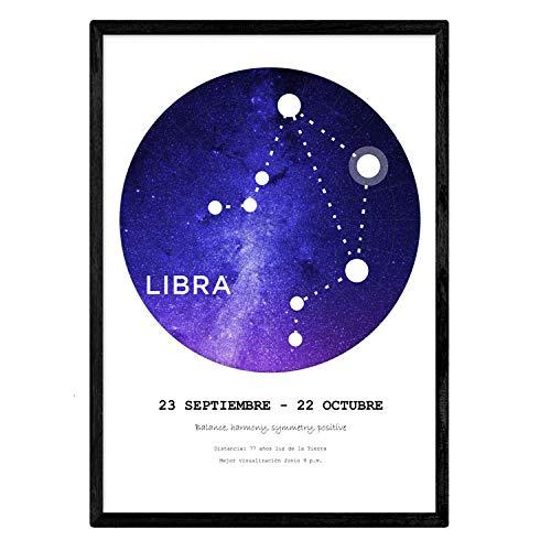 Laminaat met het sterrenbeeld Weegschaal. Poster met A3-stersymbool in grootte en witte achtergrond