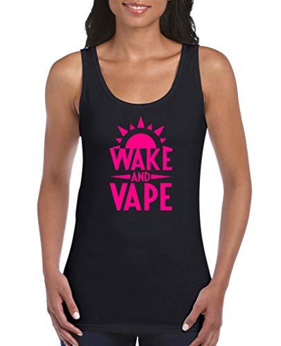 Comedy Shirts - Wake and Vape - Damen Tank Top - Schwarz/Pink Gr. XXL