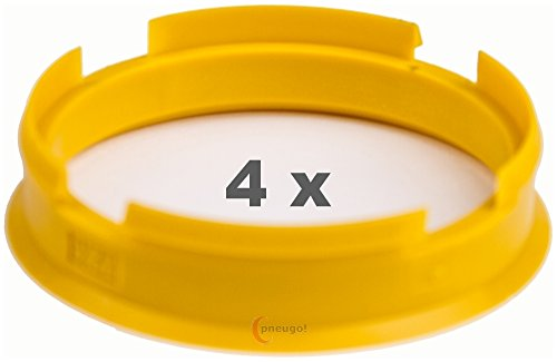 pneugo! 4 x anillos de centrado de plástico 72.60 mm a 65.1 mm