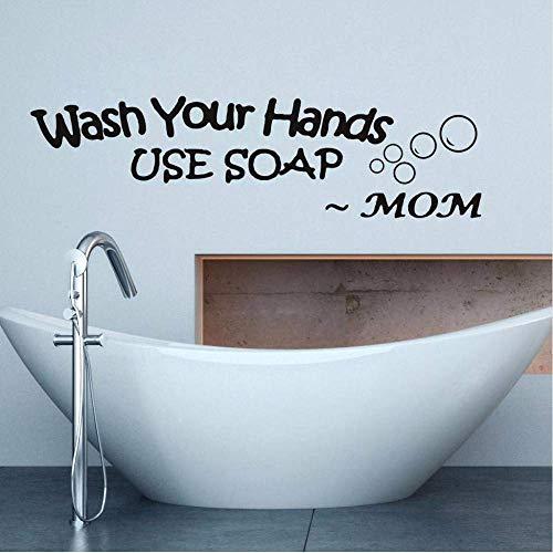 Waschen Sie Ihre Hände Liebe Mama Schwarz Vinyl Badezimmer Wandaufkleber Verwenden Sie Seife Wasserdicht Aufkleber Wanddekor Tapete Aufkleber 60 * 16.Cm