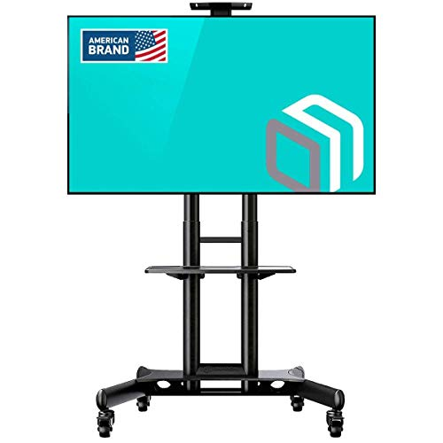 "ONKRON Mobile TV Stand with Mount Rolling TV Cart for 40"" – 70"" LCD LED Flat Screen TV with Wheels Shelves Height Adjustable TV Trolley (TS15-51)"