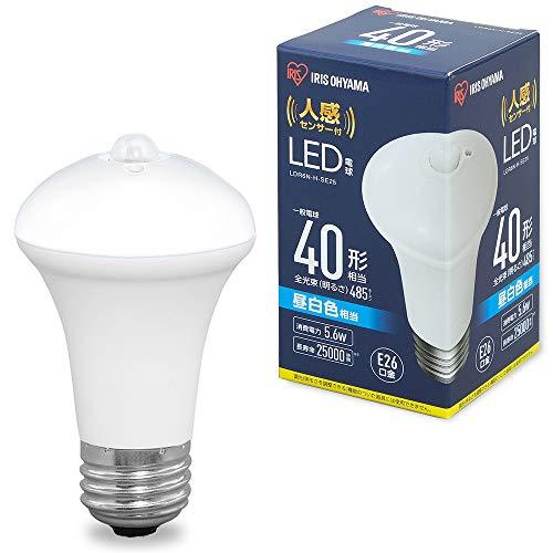 アイリスオーヤマ LED電球 人感センサー付 口金直径26mm 40形相当 昼白色 LDR6N-H-SE25