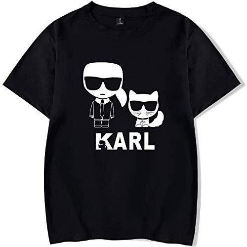 INSTO T-Shirt Mode Karl Lagerfeld Drucken Kurze Ärmel T-Stück Beiläufig Lose Trikot Mehrfarben Optional/Schwarz/XXL
