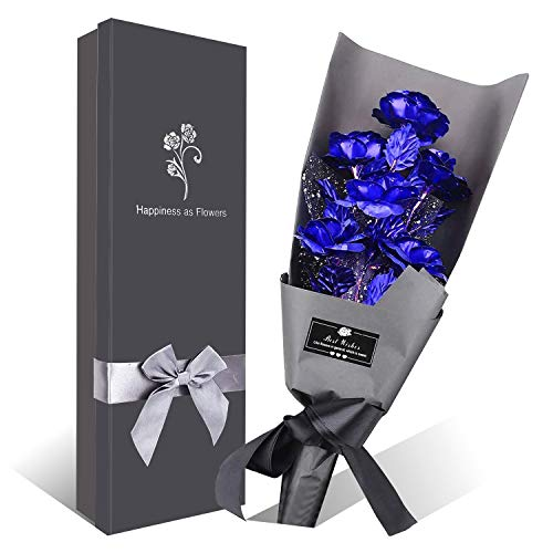 Ramo Flores Rosa Chapada en Oro, 6 Piezas Azul Ramo Rosa Artificiales de Papel Oro con Caja de Regalo para el día de San Valentín, día de la Madre, Aniversario, cumpleaños, Navidad (Azul)
