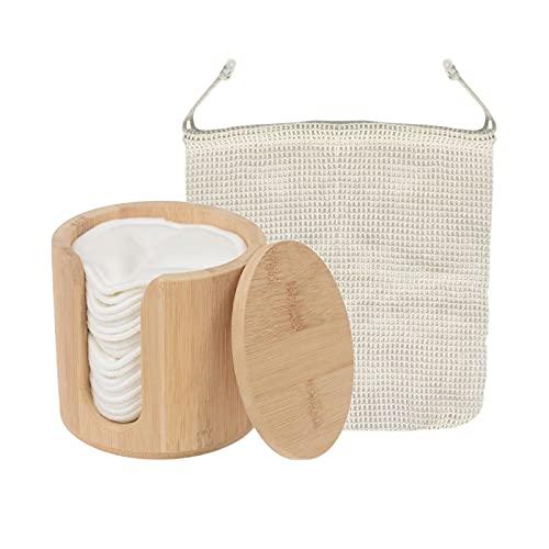 #N/a Almohadillas desmaquillantes reutilizables con bolsa de lavandería lavable con recipiente de...