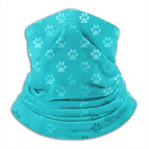 3d Rose Petrol/Aqua blau türkis Hund Pfoten Unisex Fleece Halswärmer Gesicht wärmer Hals Rohr Hals Schal Hals Gamaschen