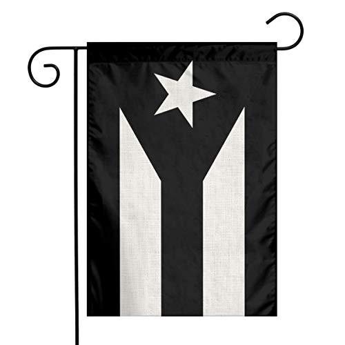 YANGHOME Black and White Puerto Rico Flag Puerto Rican Pr Flax Nylon Burlap Linen Fabric Garden Flag Farmhouse Decorations Mailbox Decor Welcome Sign 12x18 Inch Small Mini Size Double Sided