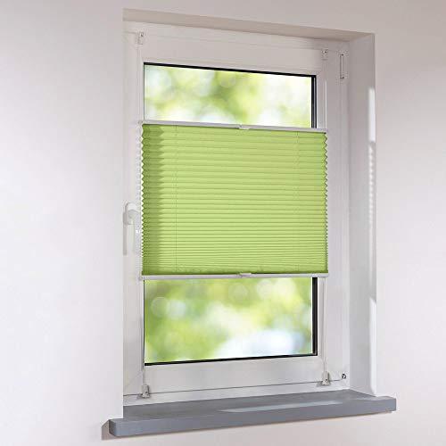 Plissee 110 x 140 cm grün verspannt Klemmfix ohne Bohren Faltrollo Raffrollo Sonnen- & Sichtschutz