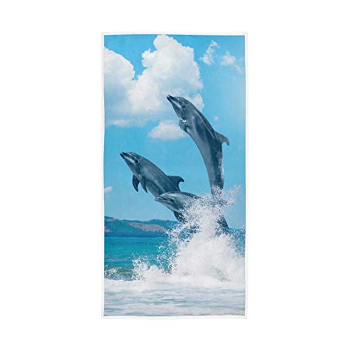 PIXIUXIU - Toallas de mano de secado rápido con patrón de delfín de océano, suaves, gruesas, absorbentes, para uso diario, 76 x 15 pulgadas