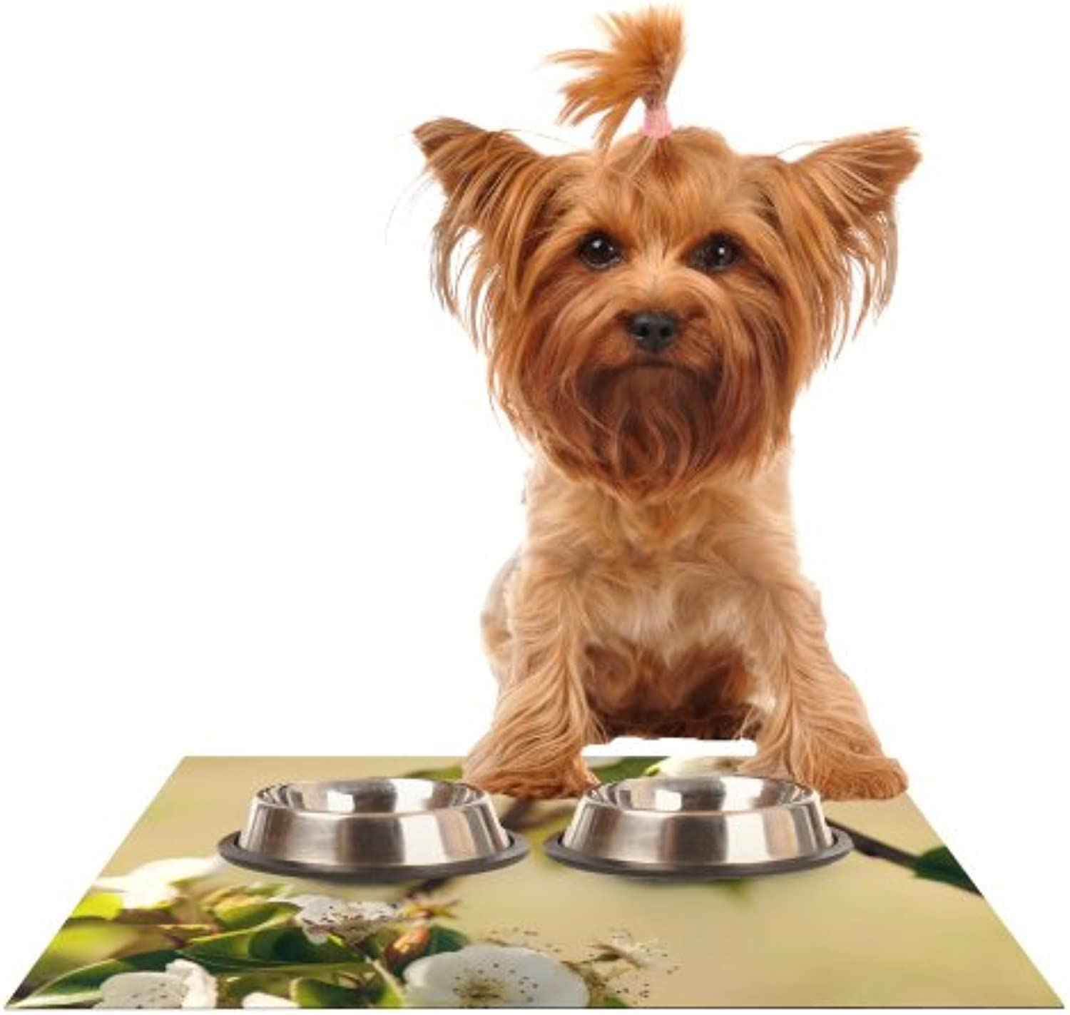Kess InHouse Catherine McDonald Pear Blossom  Feeding Mat for Pet Bowl, 18 by 13Inch