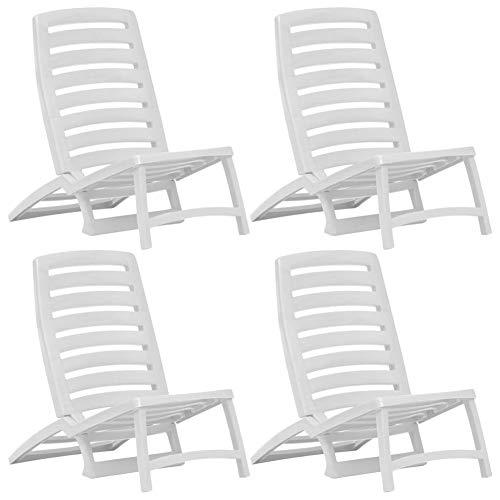 EBTOOLS - Sillas plegables, 4 piezas de plástico al aire libre, sillas plegables de playa, tumbonas reclinables sillas de salón jardín, juegos de muebles para niños blanco, 42 x 58 x 64 cm