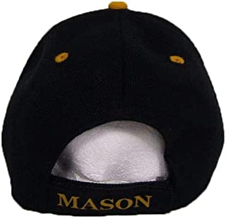 ONE NEW SUPER CAP Black Mason Masonic Freemason Lodge Gold Letters Ball Cap Hat CAP961 (TOPW) One Size Fits Most with Adjustable Strap,Hoop and Loop Closure