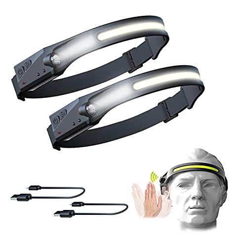 LED Headlamp, 2 Pcs USB Rechargeable Headlamp with All Perspectives Induction 230° Illumination, 5 Modes Motion Sensor Headlamp Flashlight, Outdoor Waterproof Headlight for Running, Fishing, Camping