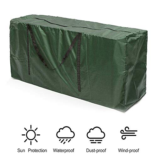 Garden Furniture Cushions Storage Bag,210D Oxford Outdoor Waterproof Lightweight Handbag with Handle for Outdoor Patio Seat Pads Protector Cushion Cover,with Zipper (173 X 76 X 51 Cm, Green)