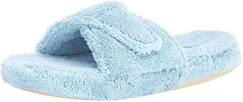 Acorn womens Spa Slide Slipper, Powder Blue, 6.5-7.5 Wide US