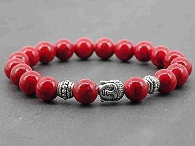 Bracelet pour homme Thurcolas ethnique Zen en perles de turquoise reconstituée rouge et Bouddha en métal argenté