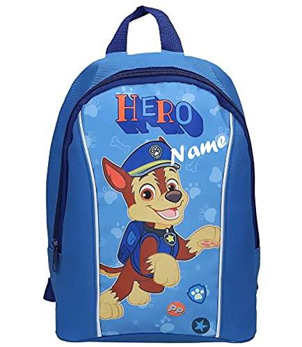 Coole-Fun-T-Shirts Personalisierter Rucksack MIT NAME Kinderrucksack für Jungen und Mädchen kompatibel zu Paw Patrol für KITA Schule Kindergarten Grundschule Sport Training Kindergeburtstag HELLBLAU