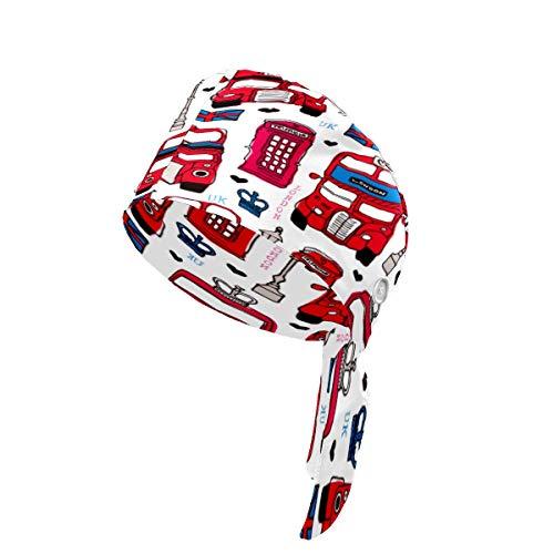 Gorra de trabajo de actualización con botón y banda para el sudor, ajustable con lazo trasero para mujer, hombre, talla única, color rojo