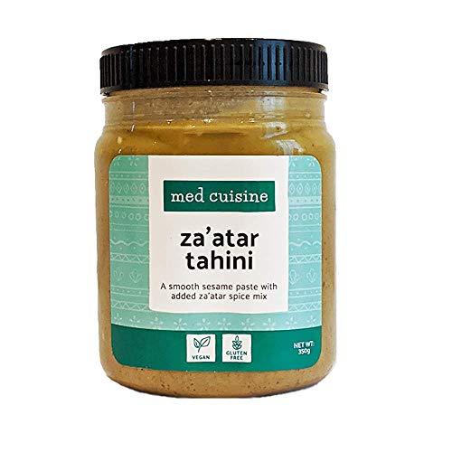 Med Cuisine Tahini Za'atar — une Pâte de Sésame Onctueuse avec une Épice Za'atar Supplémentaire — Une Source de Fer et de Calcium — Végan, Sans Gluten, Sans Noix & Kascher — 350 g (1 paquet)