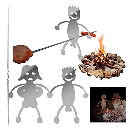 huelufi Grillspieße Edelstahl, Lustige Frauen Männer Geformte Schaschlikspieße BBQ Hotdog Bratstab Stick, Grillzubehör für Spiess Grill, Spieß Stöcke, Lagerfeuer Oder Grillschale (Junge & Mädchen)