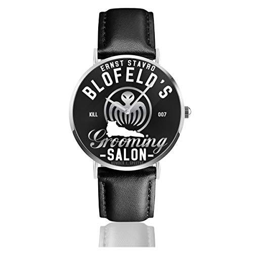 Ernst Stavro Blofeld Grooming Salon James Bond Spectre Armbanduhr Quarzuhr Leder Schwarz Lederband für Männer Frauen Young Collection Geschenk