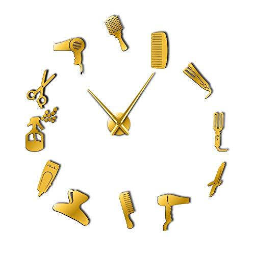ZXMGZBIAO Bricolaje Barbería Reloj De Pared Gigante con Efecto Espejo Equipos De Herramientas De Peluquería Reloj Sin Marco Decorativo Peluquero Arte De Pared De Peluquero, Dorado, 47 Pulgadas