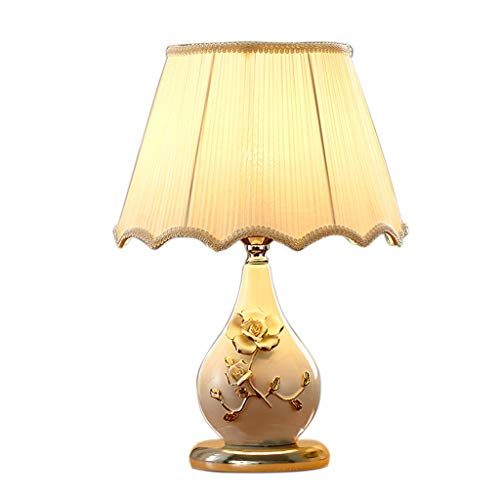 SZQ driedimensionale keramische tafellamp, slaapkamer, nachtkastje, creatieve tafellamp, plissé, lampenkap, tafellamp, 30 x 43 cm, E27 zachte verlichting