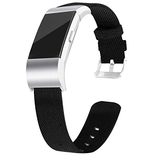 VEAQEE Compatible with Charge 2 Bands Soft Classic Breathable Replacement Woven Fabric Accessory Strap for Women Men Large Small