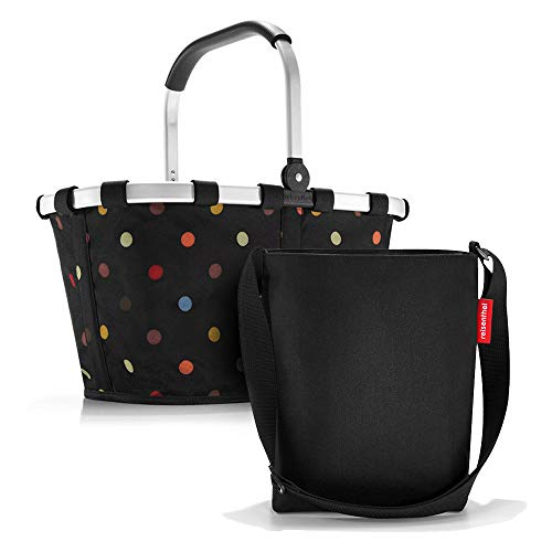 Set aus reisenthel Carrybag BK und reisenthel Shoulderbag HY, Einkaufskorb mit Kleiner Umhängetasche, dots + Black