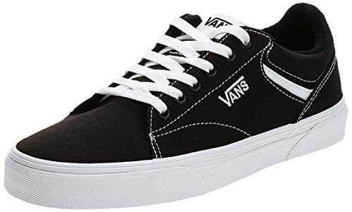 Vans Seldan, Sneaker Hombre, Lienzo Negro Blanco 187, 42 EU