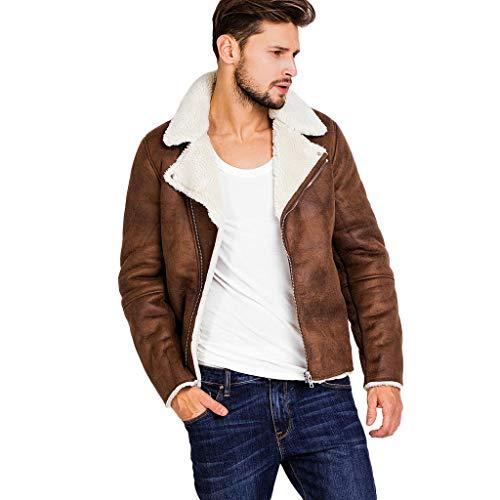 Herren Lederjacke Vintage Dicke und Warme Kunstlederjacke mit Pelzkragen Slim Fit Braune Freizeit Jacke Winter Modern (L, Khaki)