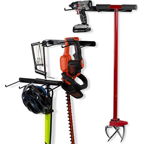 Garagen-Organizer mit 4 Fächern, Besenhalter, Wandhalterung, Haken und Werkzeughalter, Schmiedeeisen, Schwarz, 3 Stück