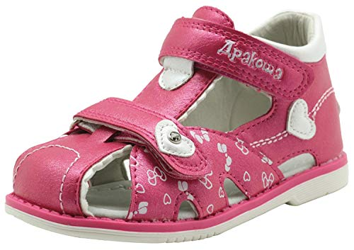 Apakowa Été Chaussures Bébé Marche Fille Sandales Bout fermé Enfant Robe de soirée sur la Plage en Plein air Voyage Casual Chaussures Plates (Color : Peach, Size : 4 UK Child)