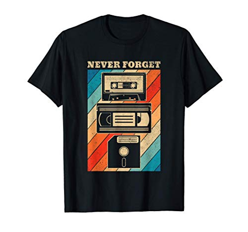 Never Forget Cassettes and Floppy Disk 80s/90s T-shirt for Men, Women, Many Colors