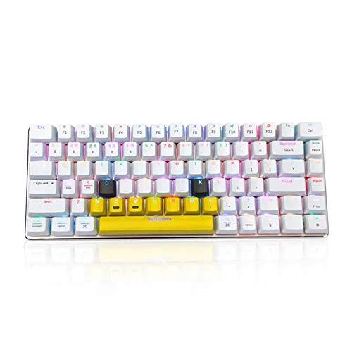 Chyuanhua Mechanisch gaming-toetsenbord met USB-aansluiting, bekabeld, mechanisch toetsenbord, 82 toetsen, RGB-achtergrondverlichting, bluetooth, geschikt voor gaming-kantoor