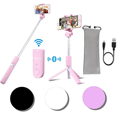 POKANIC Selfie Stick Tripod with Bluetooth Wireless Remote Shutter Control Pouch Extendable Adjustable Stand Mount Light-Weight V-Log Compatible with All Apple iPhone, Samsung Galaxy (Pink)