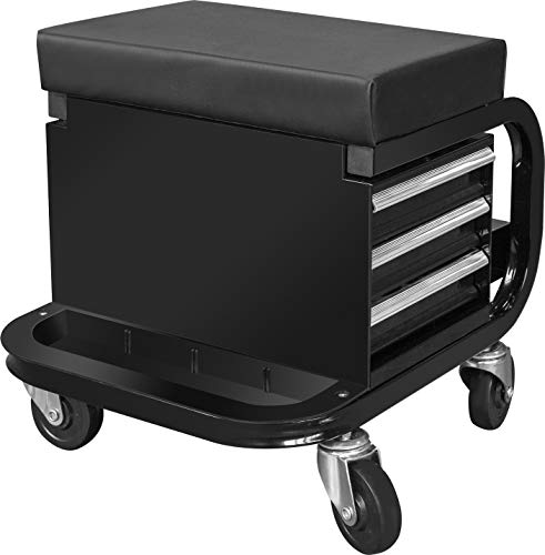 Torin APD2016AB Rolling Creeper Garage/Shop Seat: Padded Mechanic Stool with 3 Drawer Tool Chest Storage, Black