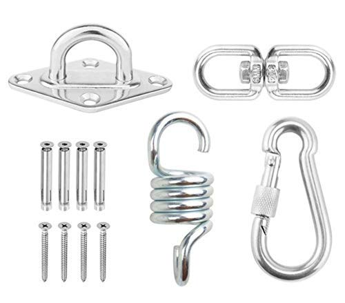 Durable Hammock Chair Hanging Accessories Kit Stainless Steel Spring+Swivel Hooks+Ceiling Mount for Concrete Wooden Swing Sets Yoga Hammock Chair Sandbag