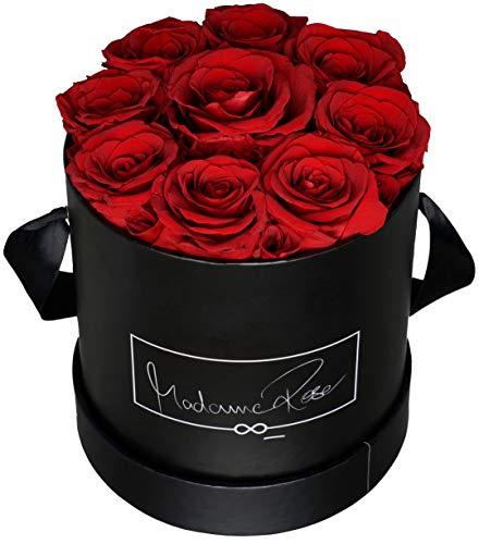 MadameRose Rosenbox rund mit 9 konservierten roten Rosen in schwarzer Hutschachtel als Geschenk und Deko, Größe L