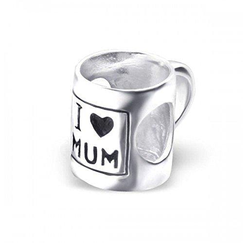 Ik hou van MUM MUG/CUP Sterling zilveren bedeltje voor vrouwen dames meisjes - familie bedeltje - past Europese bedelarmbanden & kettingen - bedeljuwelen. Geschenk