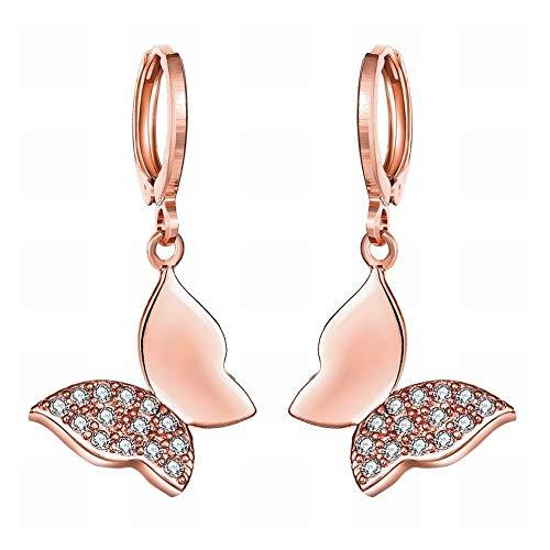 JY Un par de circonitas doradas K Pendientes de lanza Elfo Pendientes elegantes para mujer Pendientes pequeños y delicados de oro rosa/acero inoxidable/hipoalergénicos Joyas de