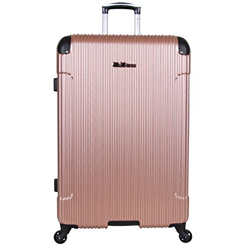 Ben Sherman Charlton Bay Collection Lightweight Hardside 4-Wheel Spinner Travel Luggage, Rose Gold, 28-Inch Checked