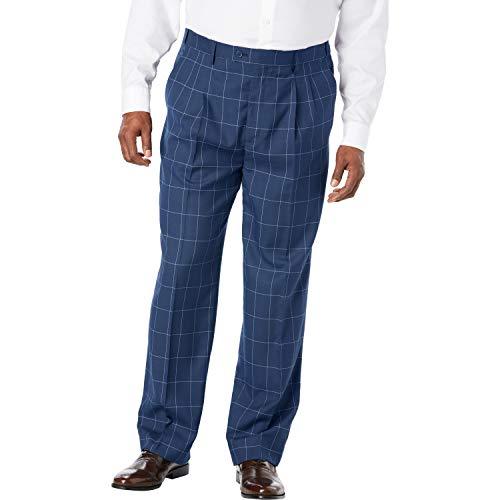Kingsize Signature Collection Men's Big & Tall Kingsize Signature Collection Easy Movement Pleat-Front Expandable Dress Pants, Navy Check Big-5238