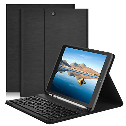 iPad Keyboard Case for iPad 10.2-Inch 2019, iPad Air 3rd 10.5, iPad Pro 10.5 2017 - BT/Wireless - iPad 7th Generation Case with Keyboard-iPad Cover with Apple Pencil Holder-Tablet Folio Black