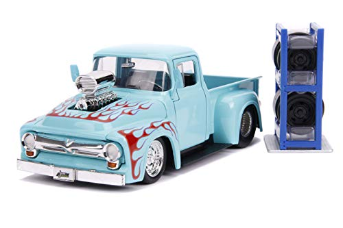 1956 Ford F-100 Pickup Truck Turquoise with Red Flames with Extra Wheels Just Trucks Series 1/24 Diecast Model Car by Jada 31542