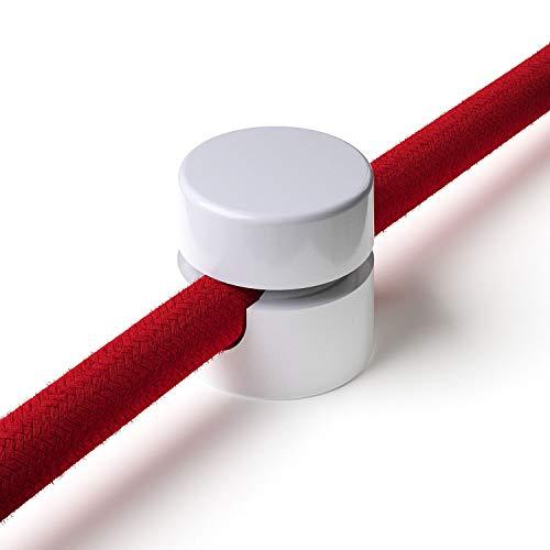 10x Stück - Zweiteilige Affenschaukel für Textilkabel, Aufputz-Kabelhalter für Lampe, Weiß