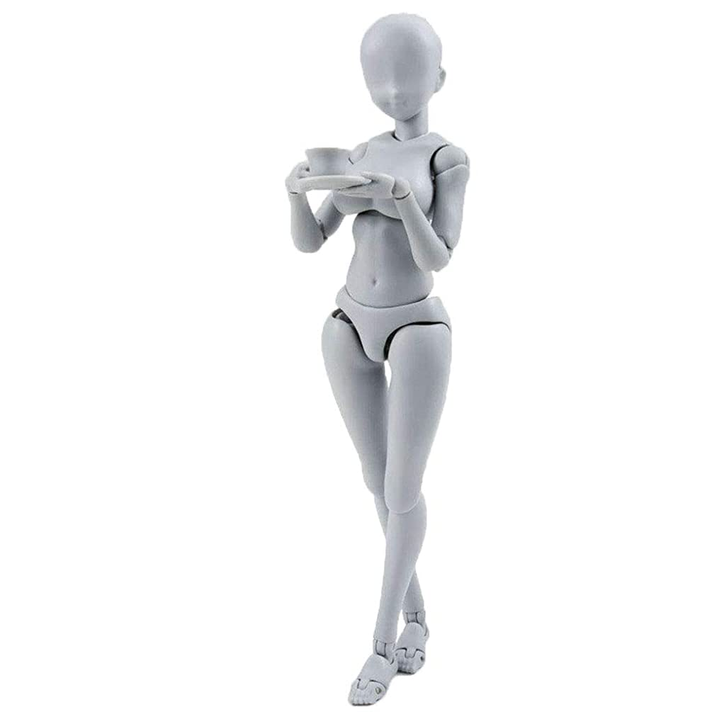 Human Figure Models Artists, Self-Built Arts Drawing Model Action Figure Model Mannequin Man Woman Kits, Suitable for Sketching, Painting, with Flexible Joints(13-15cm, Gray, Shipped from USA)